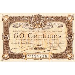 Le Havre - Pirot 68-17b - 50 centimes - 1917 - Etat : SPL+