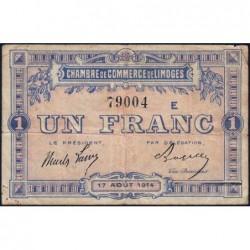 Limoges - Pirot 73-10a - 1 franc - Série E - 17/08/1914 - Etat : TB-