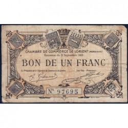Lorient (Morbihan) - Pirot 75-2 - 1 franc - Sans Série - 03/09/1915 - Etat : B+
