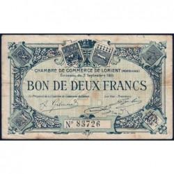 Lorient (Morbihan) - Pirot 75-11 - 2 francs - Sans Série - 03/09/1915 - Etat : TB