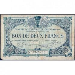 Lorient (Morbihan) - Pirot 75-19 - 2 francs - Sans Série - 03/09/1915 - Etat : TB-