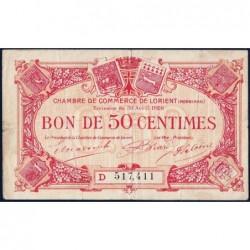 Lorient (Morbihan) - Pirot 75-32 - 50 centimes - Série D - 30/04/1920 - Etat : TB
