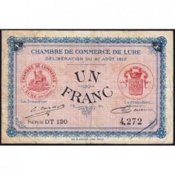 Lure - Pirot 76-20 - 1 franc - Série DT 120 - 21/08/1917 - Etat : TB