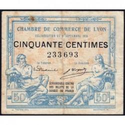 Lyon - Pirot 77-3 - 50 centimes - Sans série - 09/09/1915 - Etat : TB