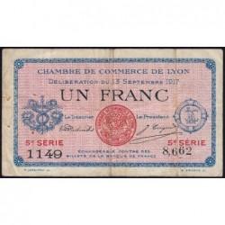 Lyon - Pirot 77-15 - 1 franc - 5e série 1149 - 13/09/1917 - Etat : TB+