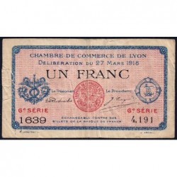 Lyon - Pirot 77-17 - 1 franc - 6e série 1639 - 27/03/1918 - Etat : B