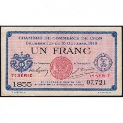Lyon - Pirot 77-19 - 1 franc - 7e série 1855 - 16/10/1919 - Etat : SUP