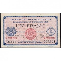 Lyon - Pirot 77-23 - 1 franc - 9e série 2241 - 09/09/1920 - Etat : SUP