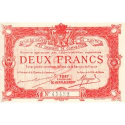 Le Havre - Pirot 68-19 - 2 francs - 1917 - Etat : SPL