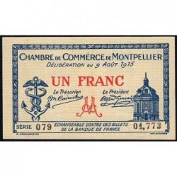 Montpellier - Pirot 85-10b - 1 franc - Série 079 - 09/08/1915 - Etat : SPL+