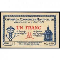 Montpellier - Pirot 85-10b - 1 franc - Série 116 - 09/08/1915 - Etat : SPL+