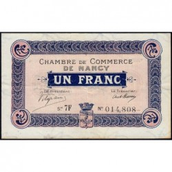 Nancy - Pirot 87-15 - 1 franc - Série 7F - 01/09/1917 - Etat : TTB