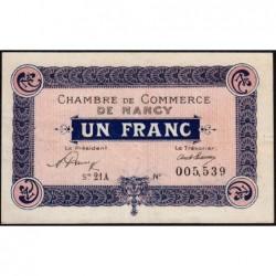 Nancy - Pirot 87-42 - 1 franc - Série 21A - 01/05/1920 - Etat : TTB