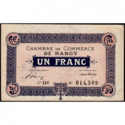 Nancy - Pirot 87-44 - 1 franc - Série 24V - 01/01/1921 - Etat : TTB+