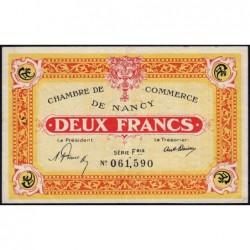 Nancy - Pirot 87-52 - 2 francs - Série Fbis - 01/01/1921 - Etat : TTB