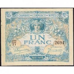 Nîmes - Pirot 92-11 variété - 1 franc - Série 77 - 04/06/1915  - Emission 1915-1920 - Etat : pr.NEUF