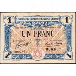 Niort - Deux-Sèvres - Pirot 93-11 - 1 franc - Série 46 - 13/11/1920 - Etat : TTB