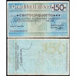 Italie - Miniassegni - Credito Italiano - 150 lire - 23/03/1976 - Etat : TB