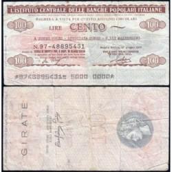 Italie - Miniassegni - Insituto Centrale delle Banche Popolari Italiane - 100 lire - 27/06/1977 - Etat : TB