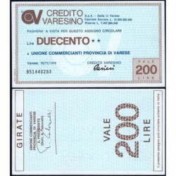 Italie - Miniassegni - Credito Varesino - 200 lire - 15/11/1976 - Etat : NEUF