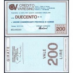 Italie - Miniassegni - Il Credito Varesino - 200 lire - 15/11/1976 - Etat : NEUF