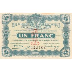 Le Havre - Pirot 68-28 - 1 franc - 18/08/1920 - Etat : SUP+