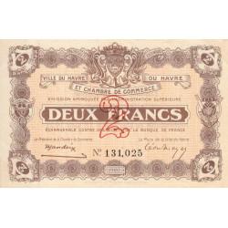 Le Havre - Pirot 68-30 - 2 francs - 18/08/1920 - Etat : SUP+