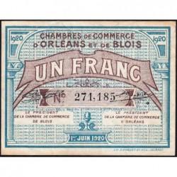 Orléans et Blois - Pirot 96-3 variété 1 - 1 franc - 01/06/1920 - Etat : SUP
