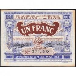 Orléans et Blois - Pirot 96-7 - 1 franc - 15/05/1921 - 2me émission - Etat : SUP