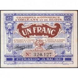 Orléans et Blois - Pirot 96-7 - 1 franc - 15/05/1921 - 2me émission - Etat : TTB+