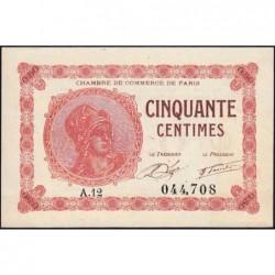 Paris - Pirot 97-10 - 50 centimes - Série A.12 - 10/03/1920 - Etat : SPL