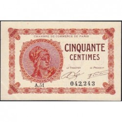 Paris - Pirot 97-10 - 50 centimes - Série A.51 - 10/03/1920 - Etat : SUP+