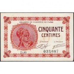 Paris - Pirot 97-10 - 50 centimes - Série D.46 - 10/03/1920 - Etat : SPL