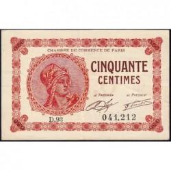 Paris - Pirot 97-10 - 50 centimes - Série D.93 - 10/03/1920 - Etat : TTB
