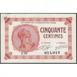 Paris - Pirot 97-10 - 50 centimes - Série F.99 - 10/03/1920 - Etat : SPL