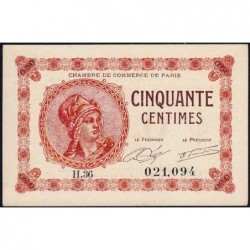 Paris - Pirot 97-10 - 50 centimes - Série H.36 - 10/03/1920 - Etat : pr.NEUF