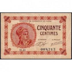 Paris - Pirot 97-10 - 50 centimes - Série H.40 - 10/03/1920 - Etat : TB