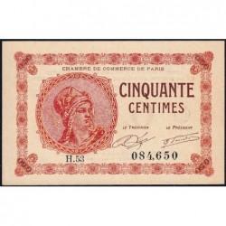 Paris - Pirot 97-10 - 50 centimes - Série H.53 - 10/03/1920 - Etat : SUP