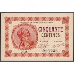 Paris - Pirot 97-10 - 50 centimes - Série H.58 - 10/03/1920 - Etat : SPL