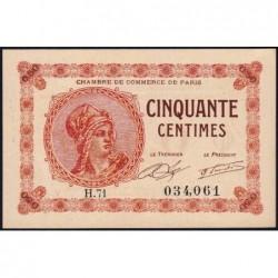 Paris - Pirot 97-10 - 50 centimes - Série H.71 - 10/03/1920 - Etat : pr.NEUF