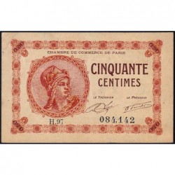 Paris - Pirot 97-10 - 50 centimes - Série H.97 - 10/03/1920 - Etat : TTB+