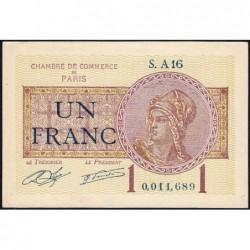 Paris - Pirot 97-23 - 1 franc - Série A16 - 10/03/1920 - Etat : SPL