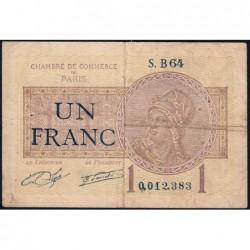 Paris - Pirot 97-23 - 1 franc - Série B64 - 10/03/1920 - Etat : TB-