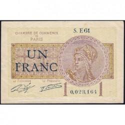 Paris - Pirot 97-23 - 1 franc - Série E61 - 10/03/1920 - Etat : TTB-