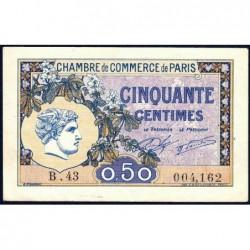 Paris - Pirot 97-31 - 50 centimes - Série B.43 - 10/03/1920 - Etat : TTB+