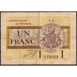 Péronne - Pirot 99-2b - 1 franc - Série S.A - 27/07/1920 - Etat : TB