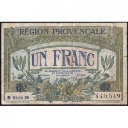 Région Provençale - Pirot 102-18 - 1 franc - R Série 34 - Sans date - Etat : B+