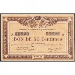 Quimper et Brest - Pirot 104-1 - 50 centimes - Série A - 1915 - Etat : TB+