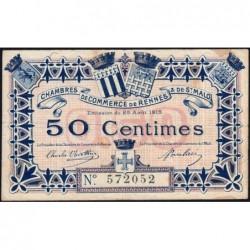 Rennes et Saint-Malo - Pirot 105-1 - 50 centimes - Sans série - 25/08/1915 - Etat : TB+