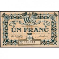 Rennes et Saint-Malo - Pirot 105-3 - 1 franc - Sans série - 25/08/1915 - Etat : TB+